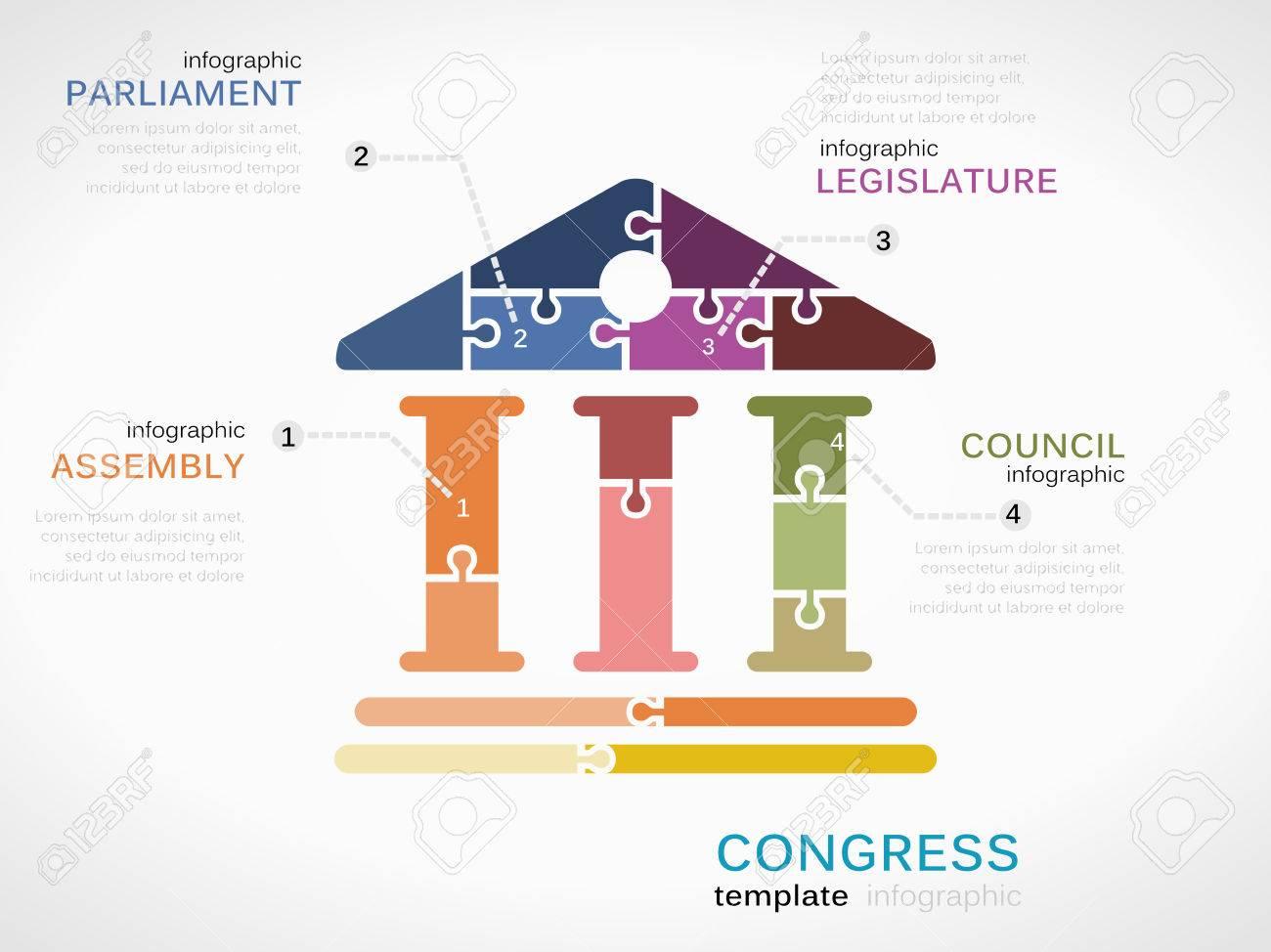 パズルのピースから作られてベクトル議会インフォ グラフィック イラスト