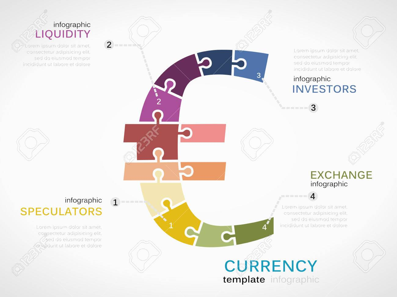 Infographic Template With Euro Currency Symbol Made Out Of Puzzle