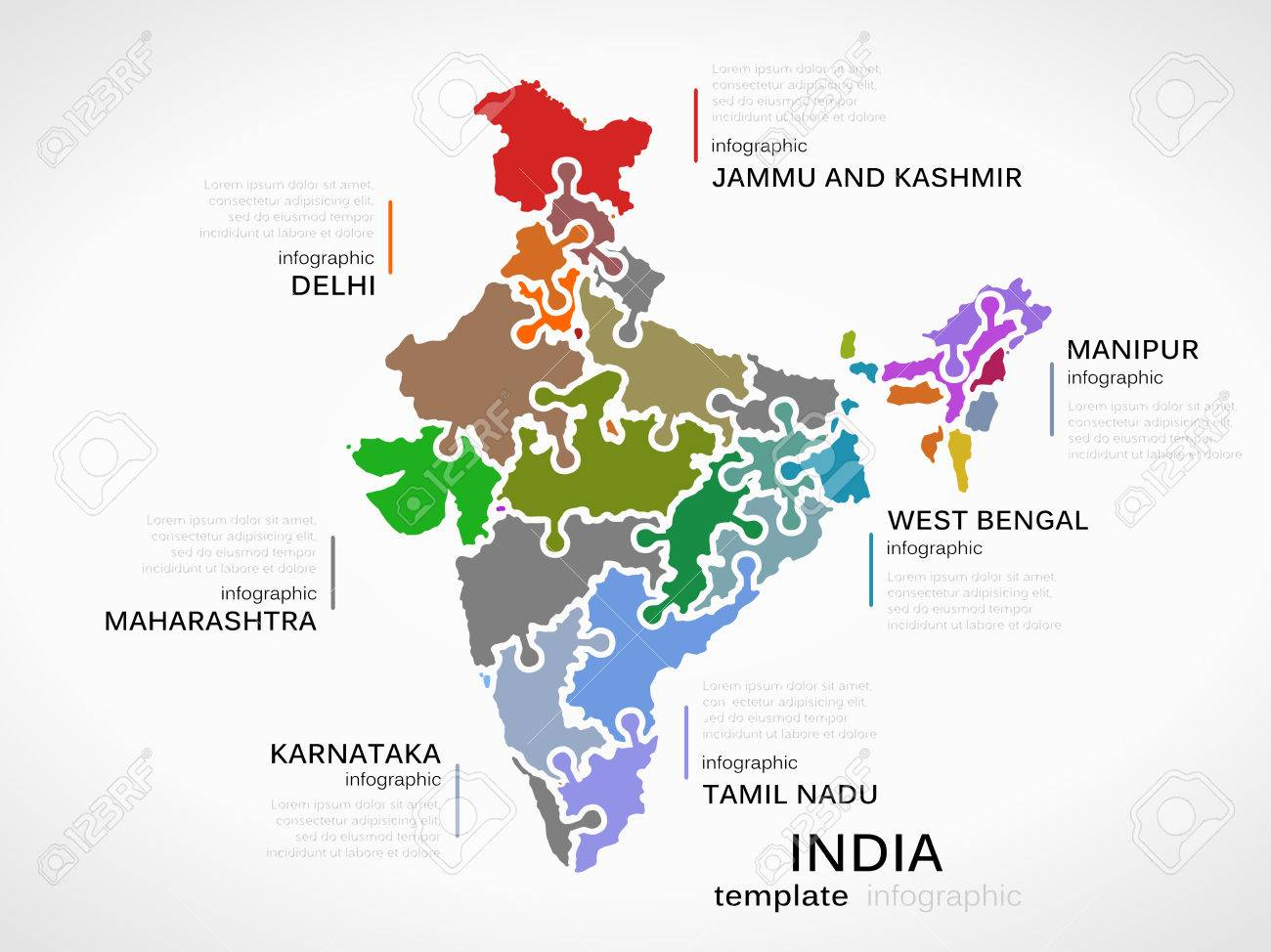 India Map Puzzle.Indian Map Concept Infographic Template With States Made Out