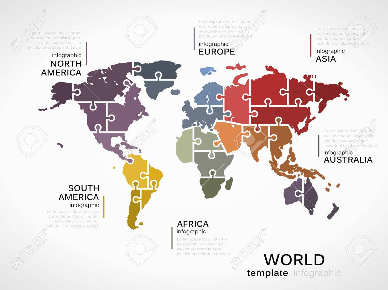 World map concept infographic template with map made out of puzzle vector world map concept infographic template with map made out of puzzle pieces gumiabroncs Image collections