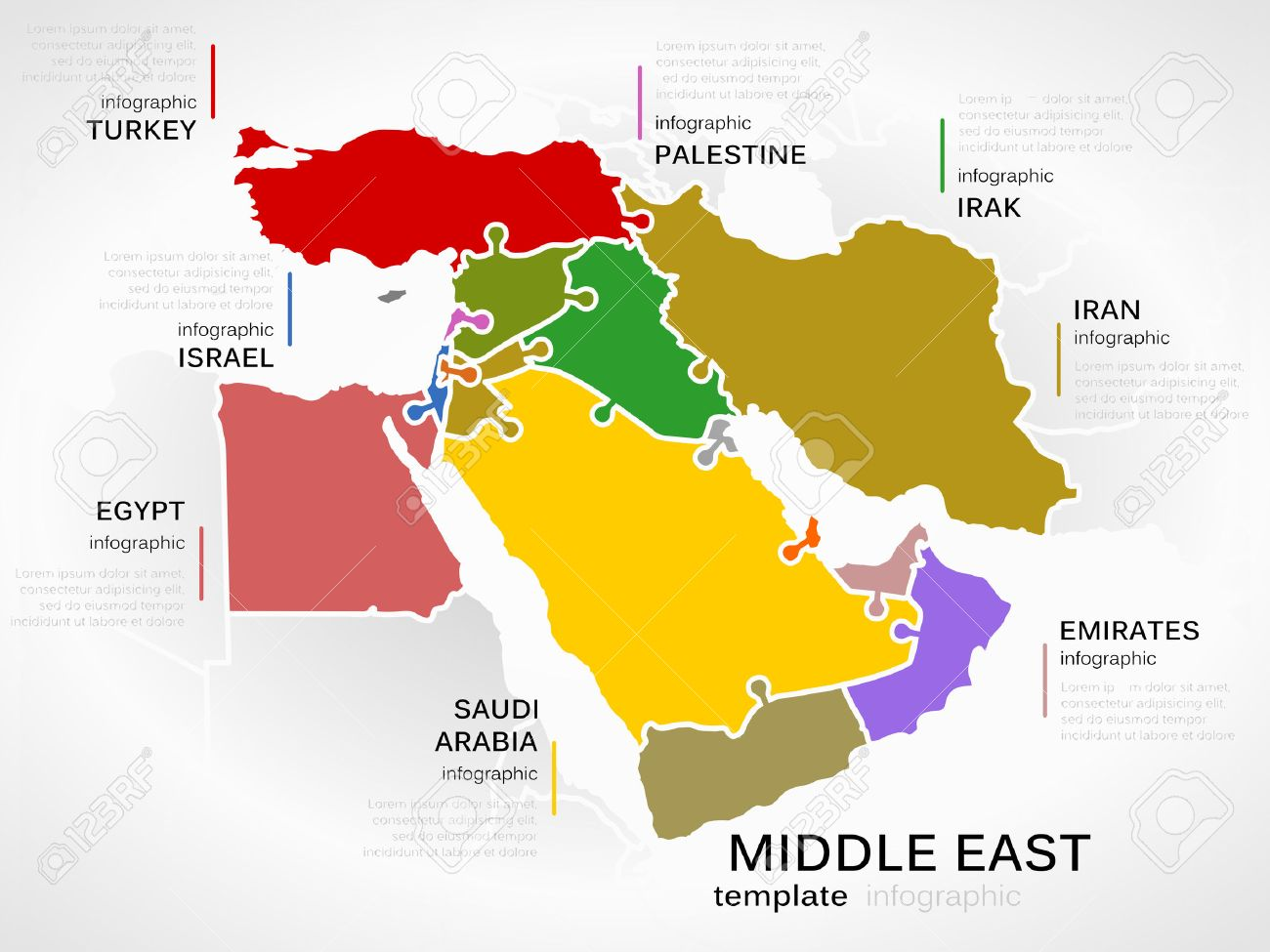 Middle east map concept infographic template with countries made middle east map concept infographic template with countries made out of puzzle pieces stock vector gumiabroncs Choice Image