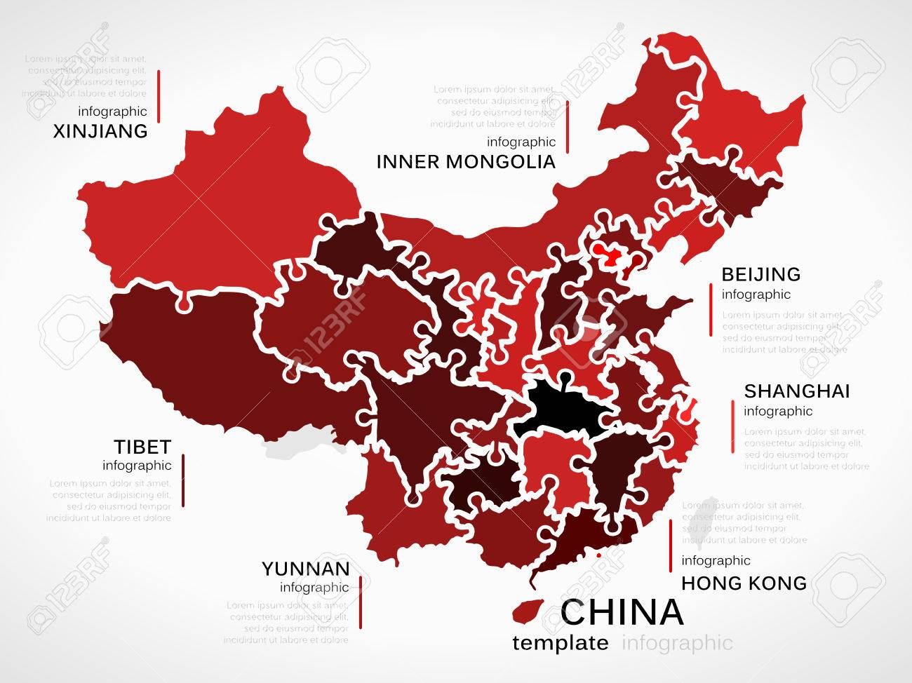 Map of china concept infographic template with provinces made map of china concept infographic template with provinces made out of puzzle pieces stock vector gumiabroncs Choice Image