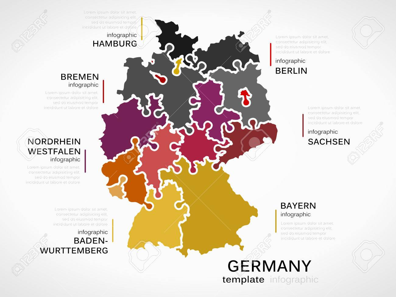 Map Of Germany Concept Infographic Template With States Made Out Of Puzzle Pieces Stock Vector