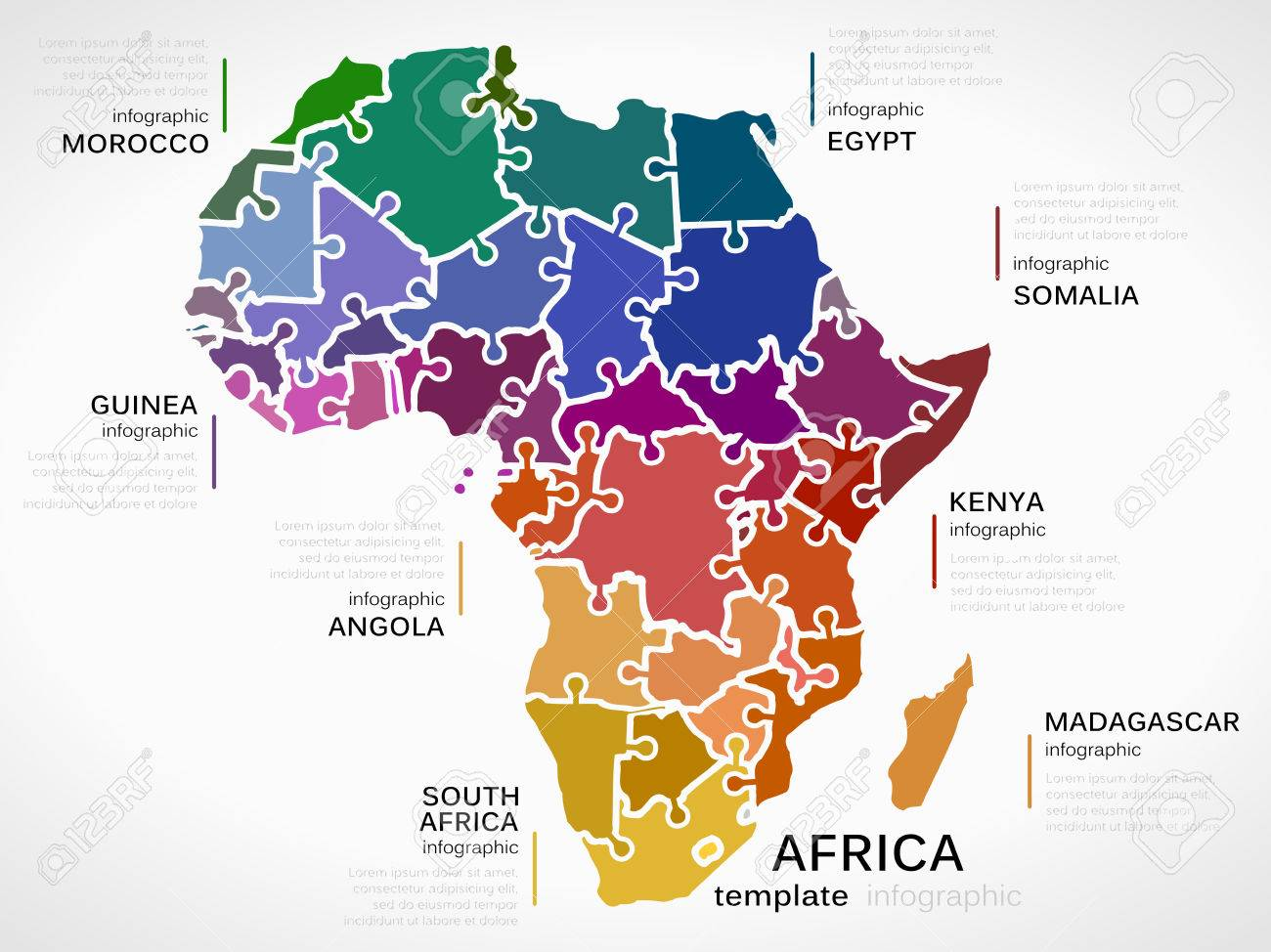 map of africa concept infographic template with countries made
