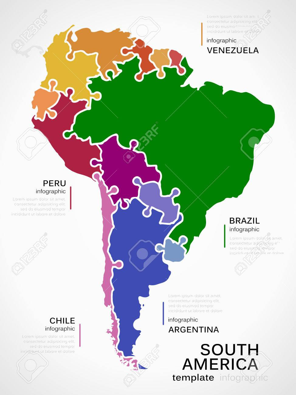 Map of south america concept infographic template with countries map of south america concept infographic template with countries made out of puzzle pieces stock vector sciox Images