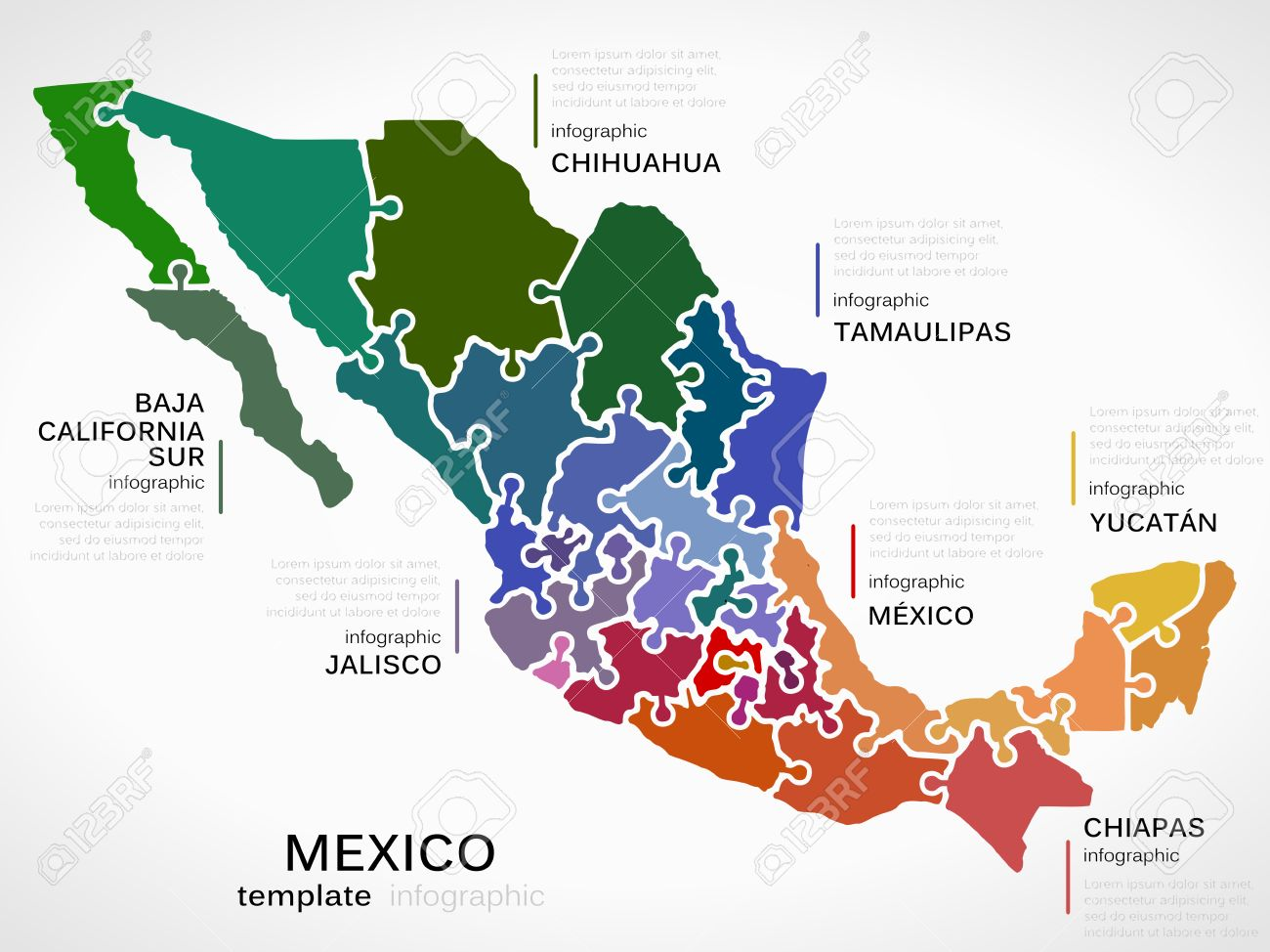 map of mexico concept infographic template with states made out of puzzle pieces stock vector