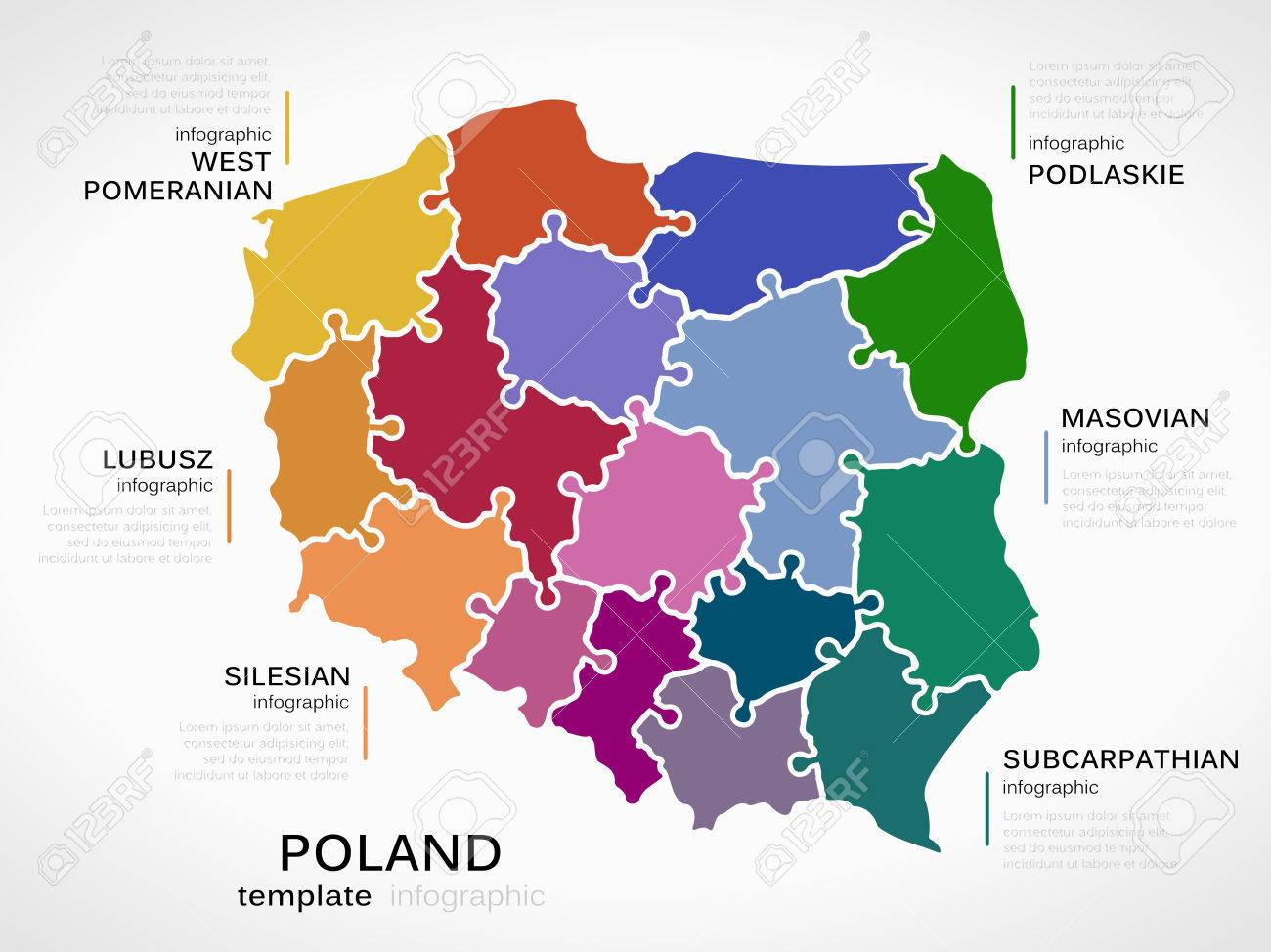 Map of poland concept infographic template with regions made map of poland concept infographic template with regions made out of puzzle pieces stock vector sciox Images