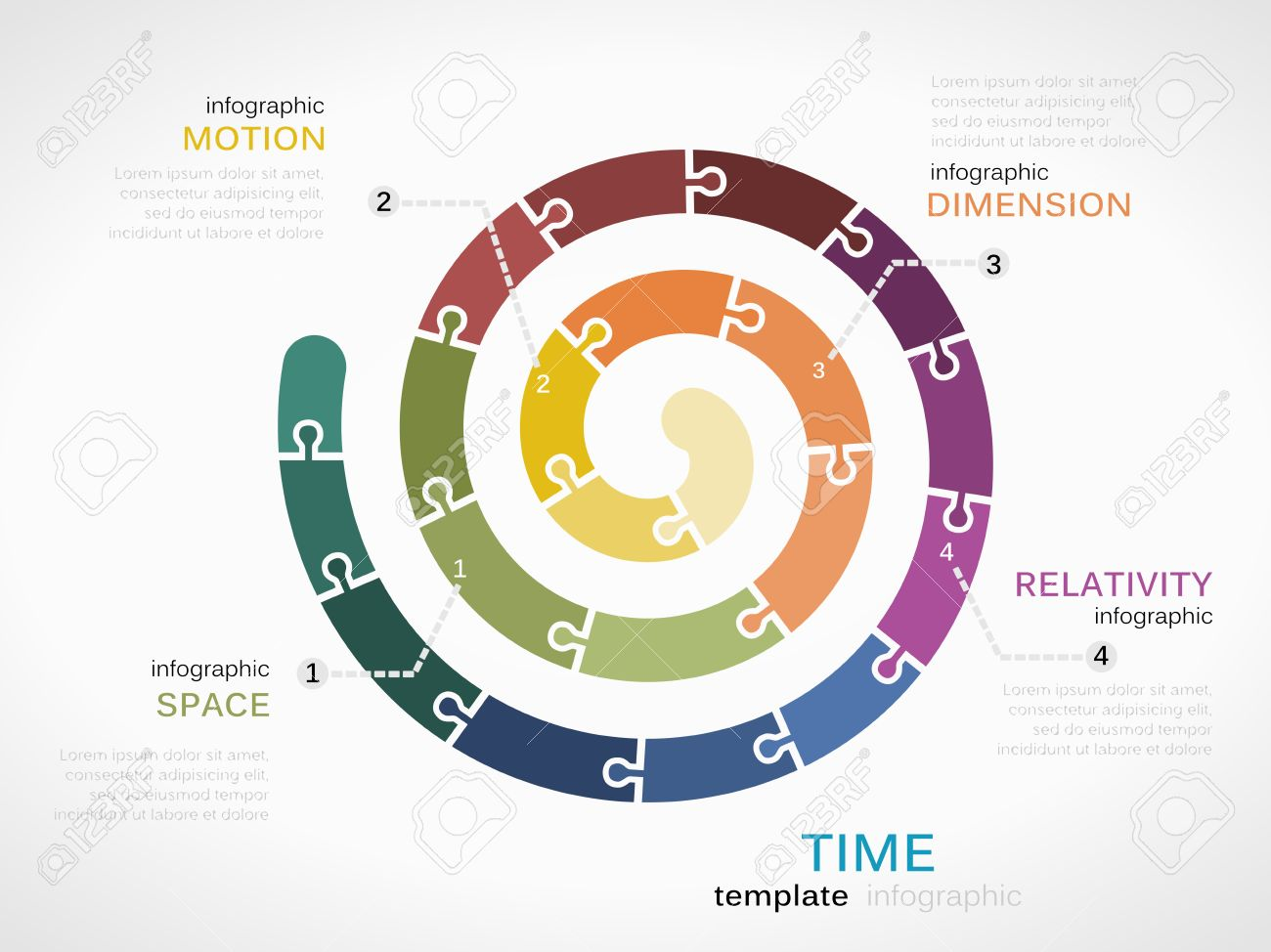 Time Dimension Infographic Template With Colorful Spiral Royalty ...