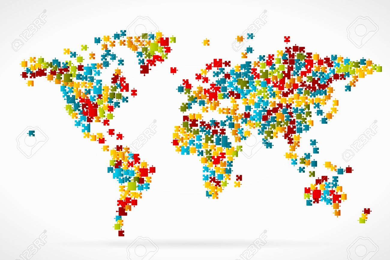 World map by puzzle pieces royalty free cliparts vectors and stock vector world map by puzzle pieces gumiabroncs Images