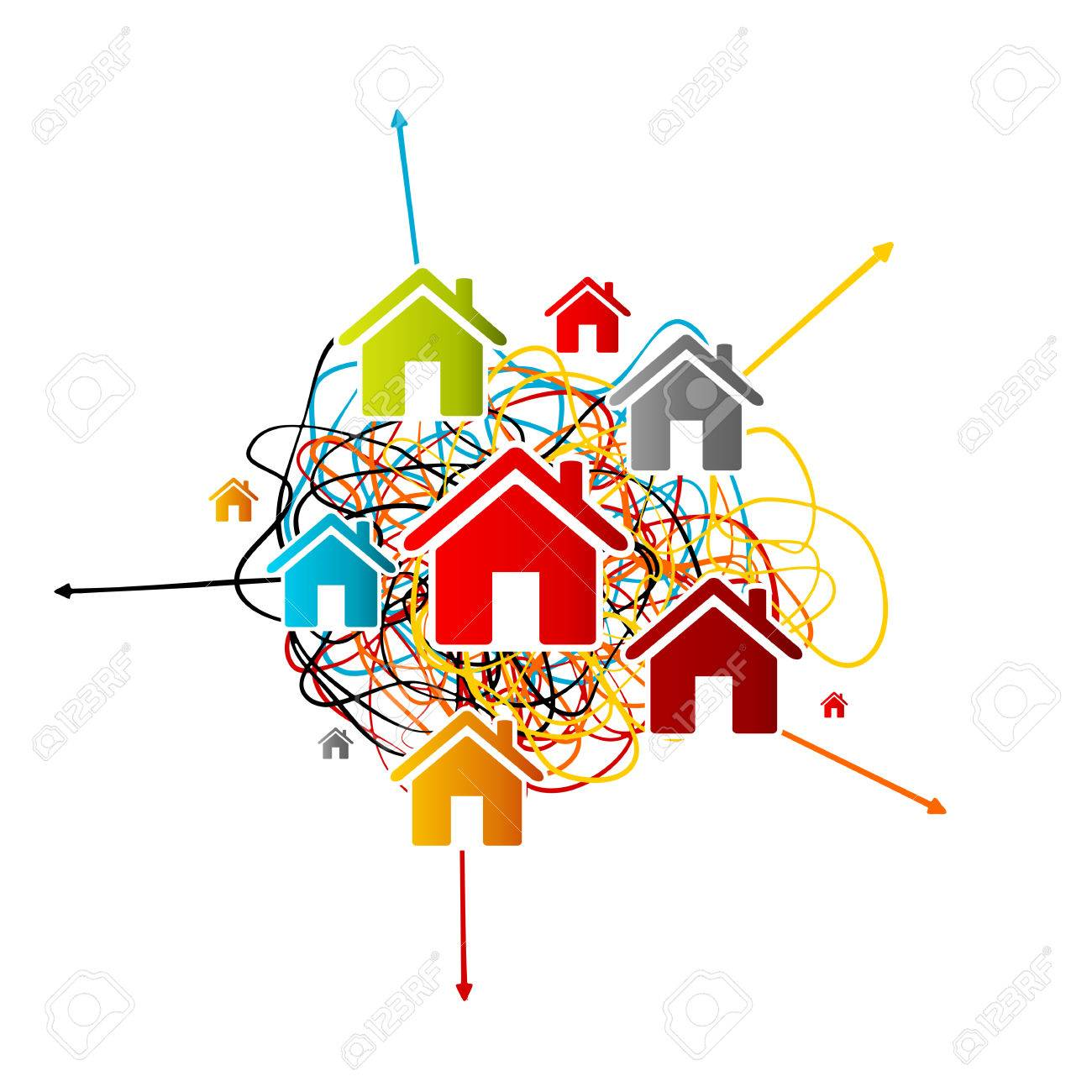 Real estate analysis, house market prediction concept with colorful