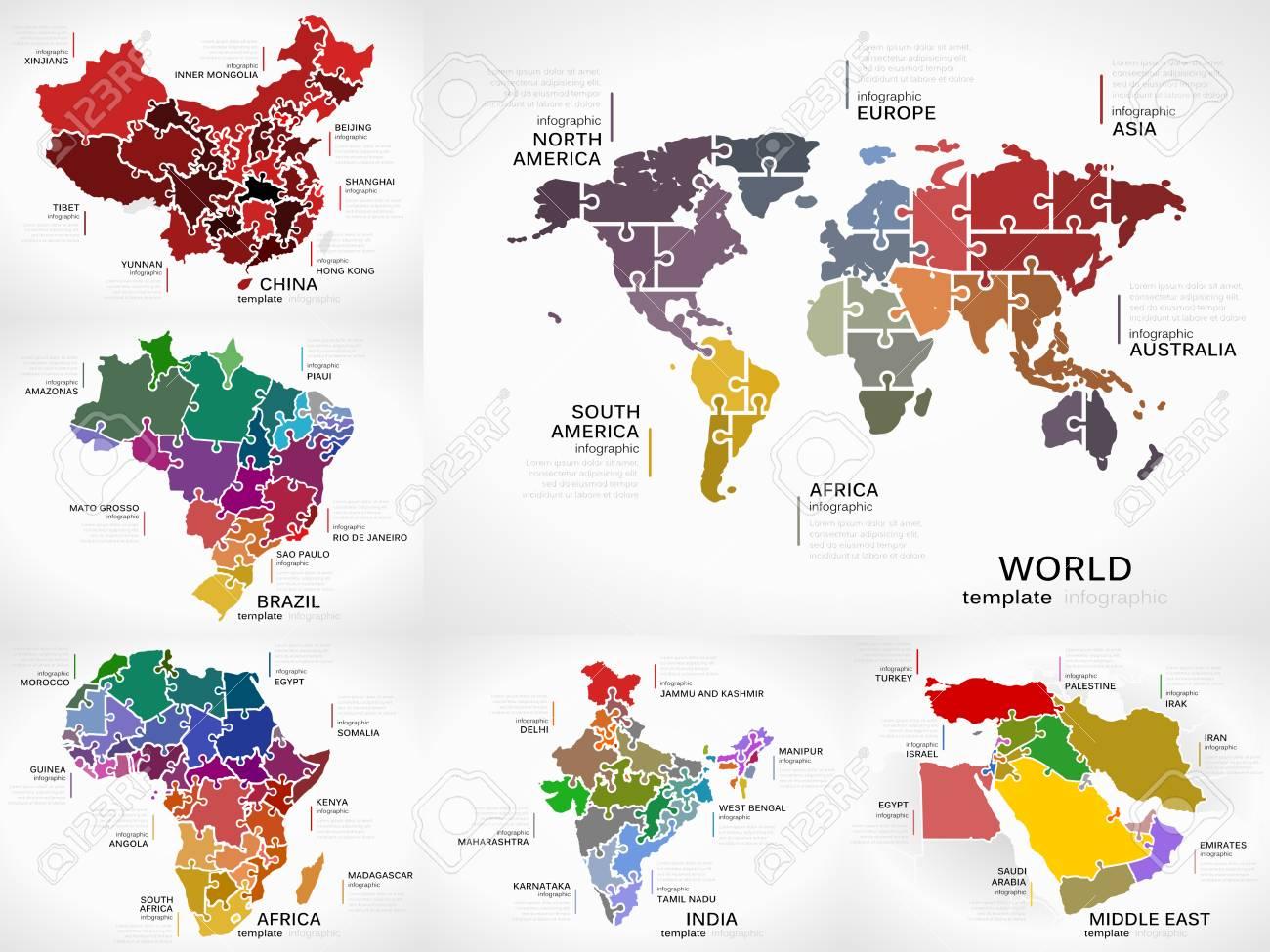 Paquete De Colección De Infografía De Mapas Con Ilustraciones De ...