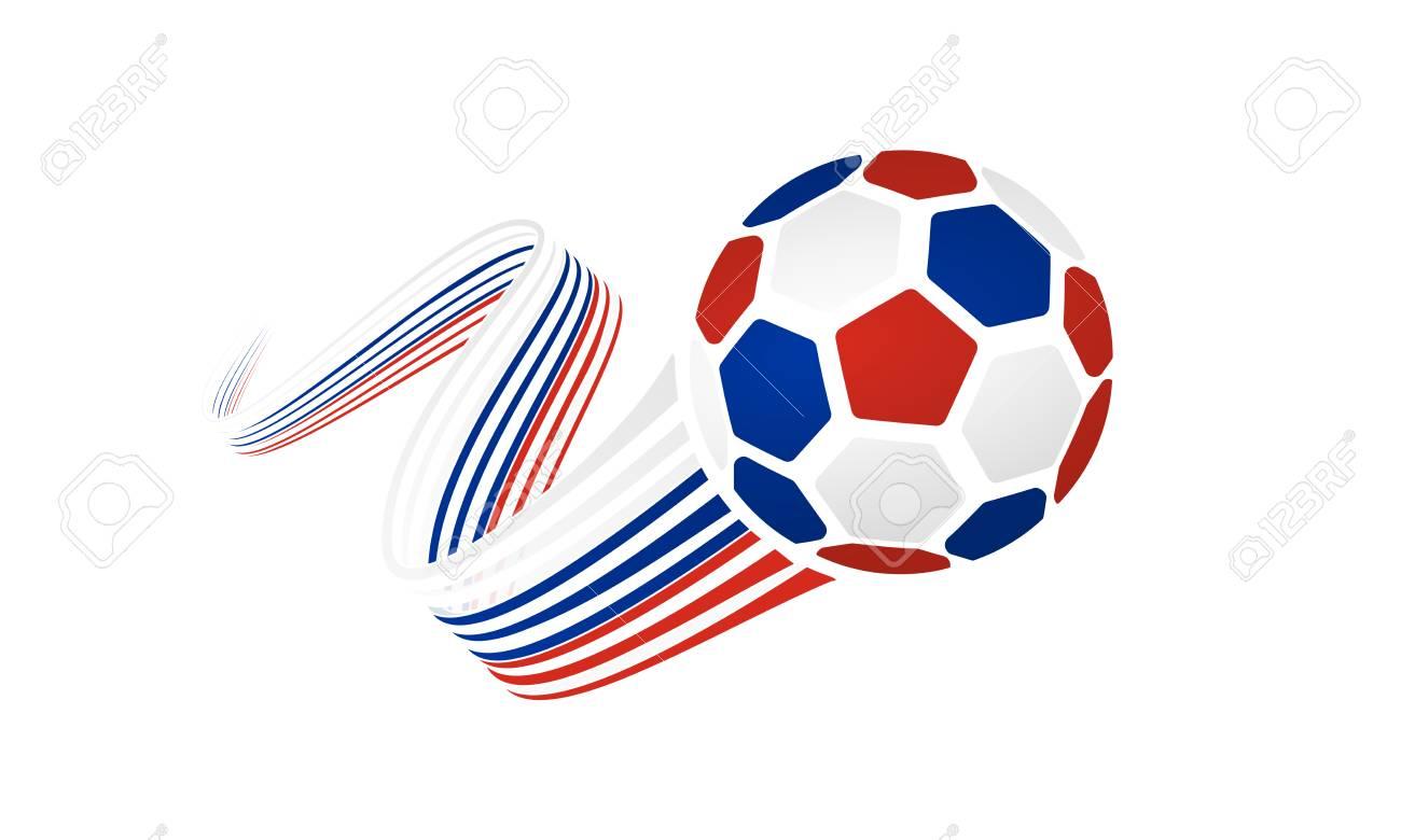 Ballon De Football Russe Isolé Sur Fond Blanc Avec Des Rubans De Bobinage Sur Les Couleurs Blanc Bleu Et Rouge
