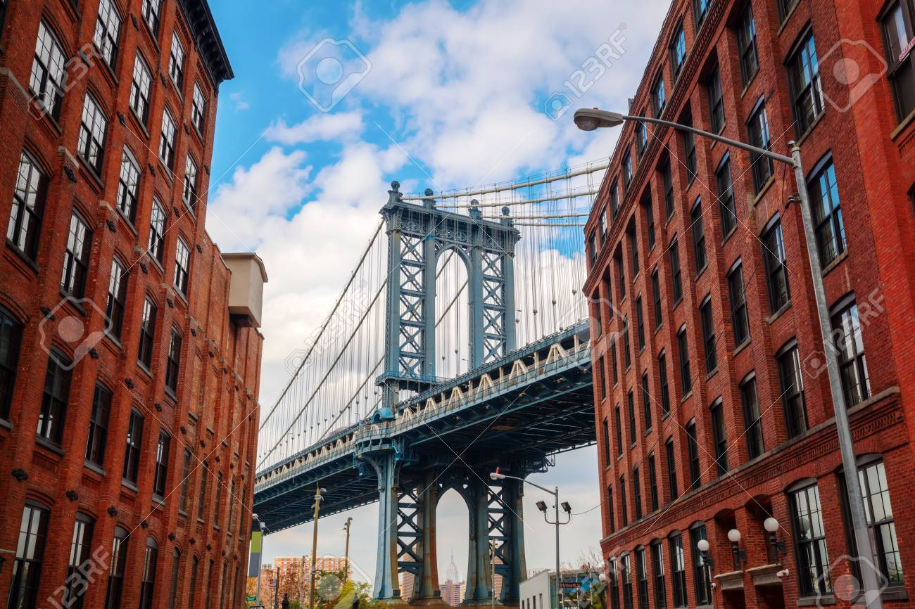 Manhattan Bridge Seen From Dumbo Brooklyn New York City Stock