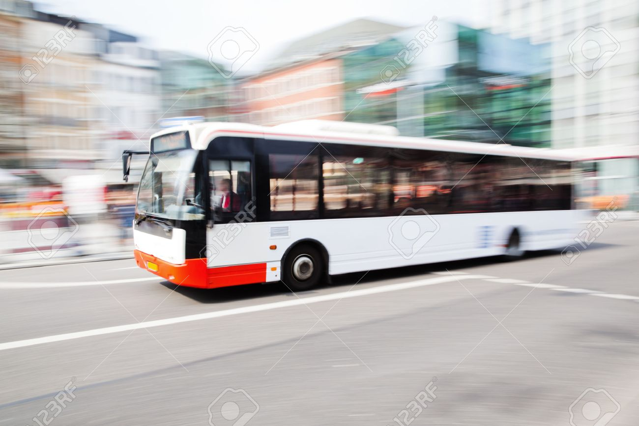 driving bus in city traffic in motion blur - 53680922