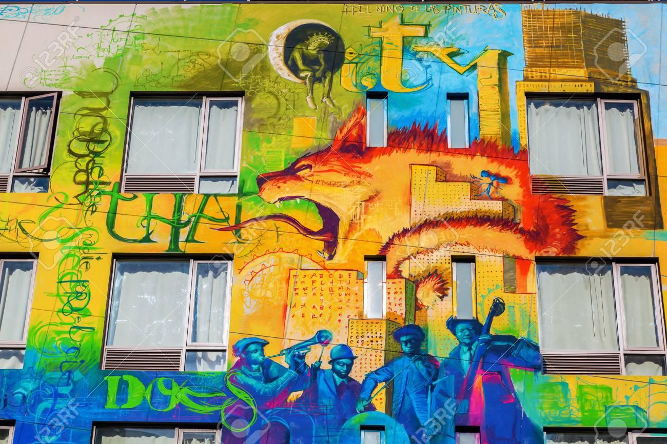 New York City, USA - October 09, 2015: Graffiti Art In Downtown ...