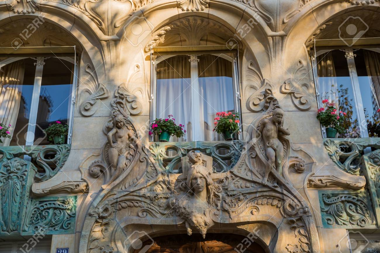 detail of an art nouveau building in paris france stock photo