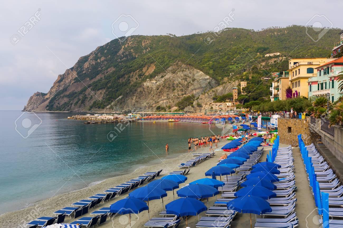 monterosso, italy - july 02, 2016: beach scene in monterosso.. stock