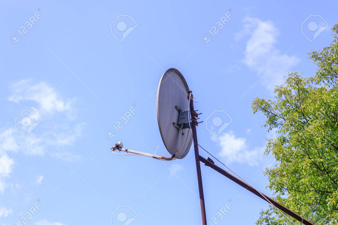 shot to an antenna oriented to the sky stock photo picture and