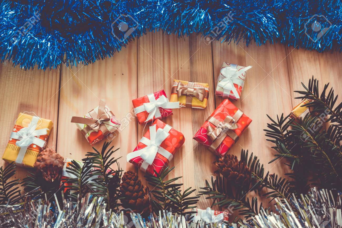 Christmas Background With Pine Tree Branches And Presents On Stock Photo Picture And Royalty Free Image Image 78949245