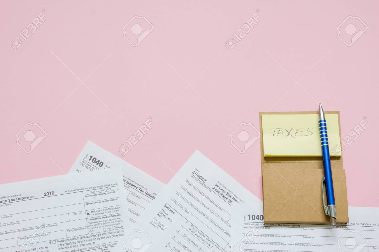 Us Tax Form 1040 With Note And Pen Tax Form Law Document Usa
