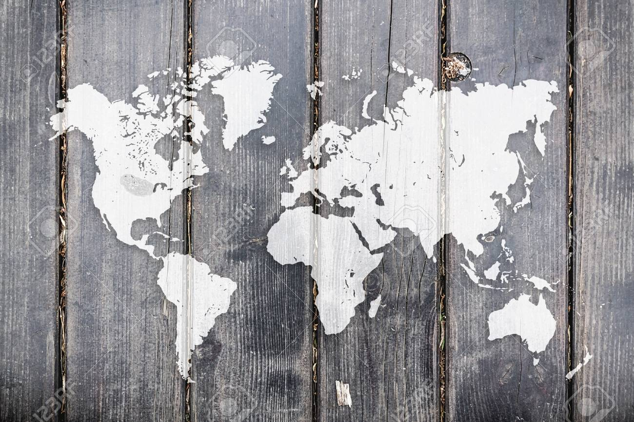 World map on wooden planks background