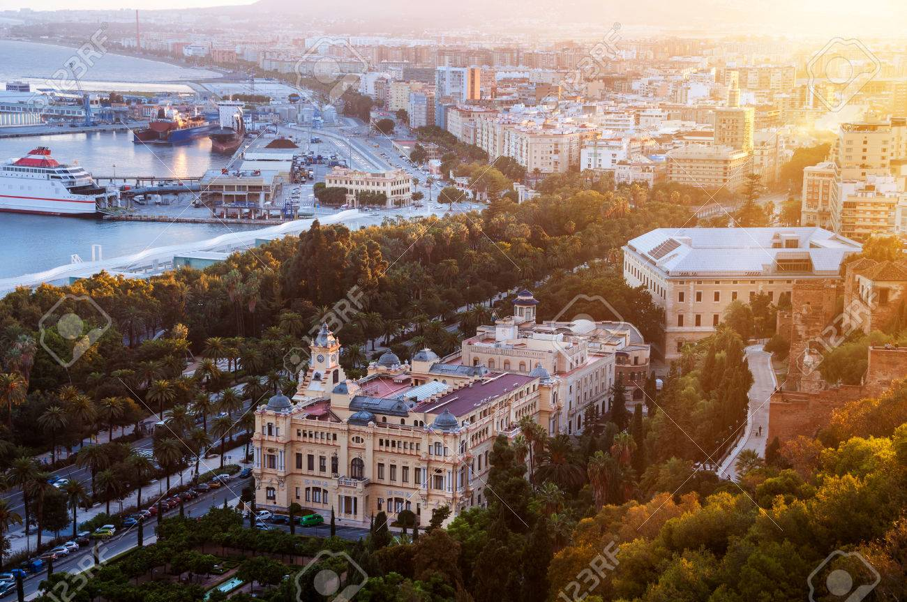 Malaga, Spain. Aerial View Of City Hall And Gardens In Malaga ...