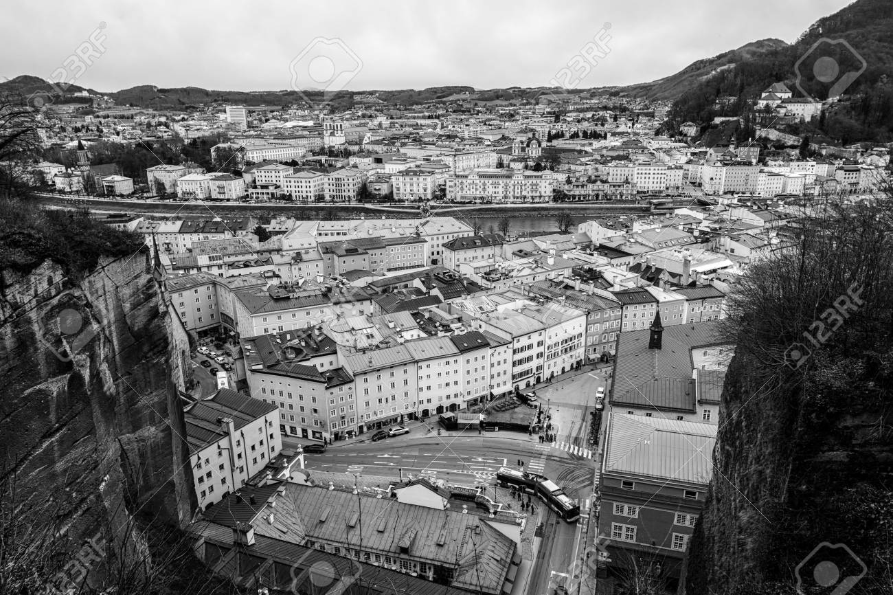 Salzburg Austria Aerial View Of City Center With Car Traffic