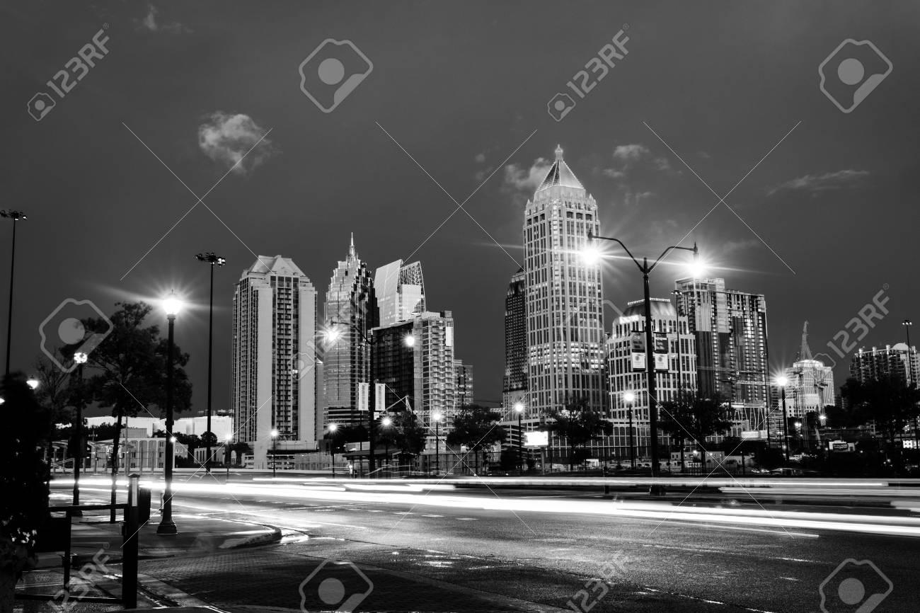 Atlanta Usa Illuminated Midtown In Atlanta Usa At Night Car Stock Photo Picture And Royalty Free Image Image 100864275
