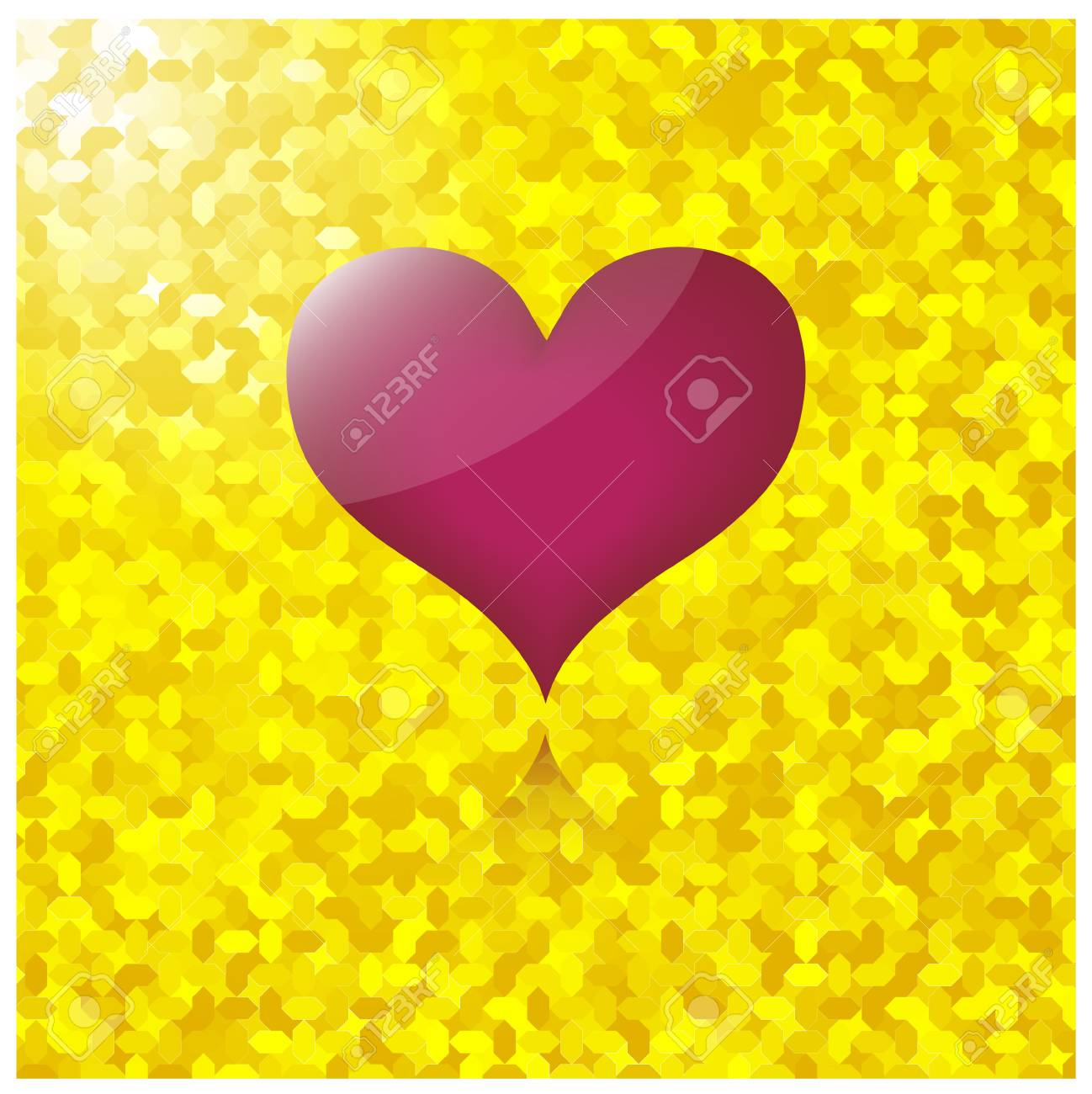 heart with gold background Stock Vector - 17318143