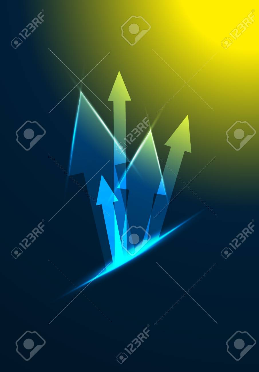 Glossy arrow composition on the dark background Stock Vector - 18821822
