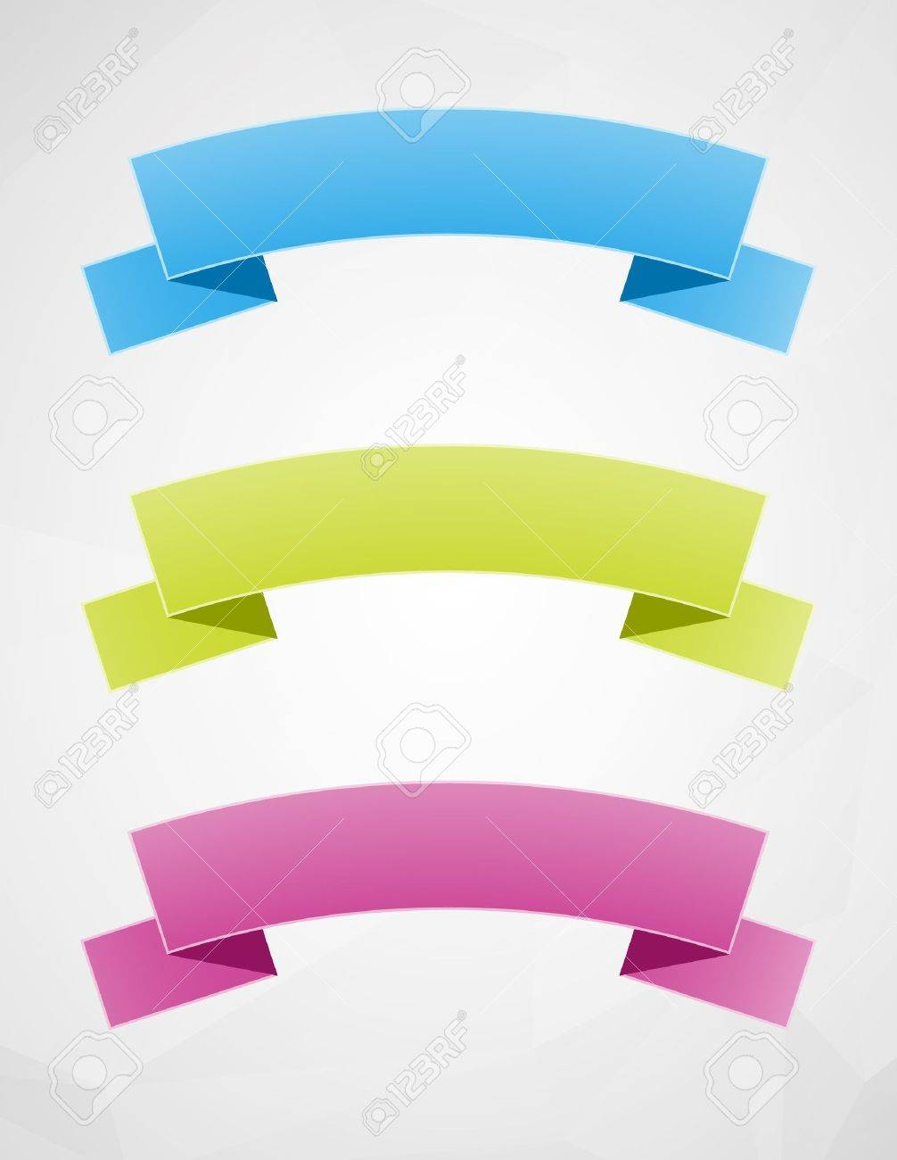 Set of three blank ribbons ready for your text   geometrical ribbons Stock Vector - 18803940