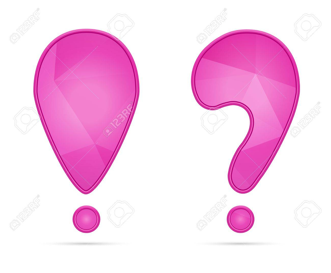 Pink exclamation and question mark with subtle geometric pattern   punctuation Stock Vector - 18877311