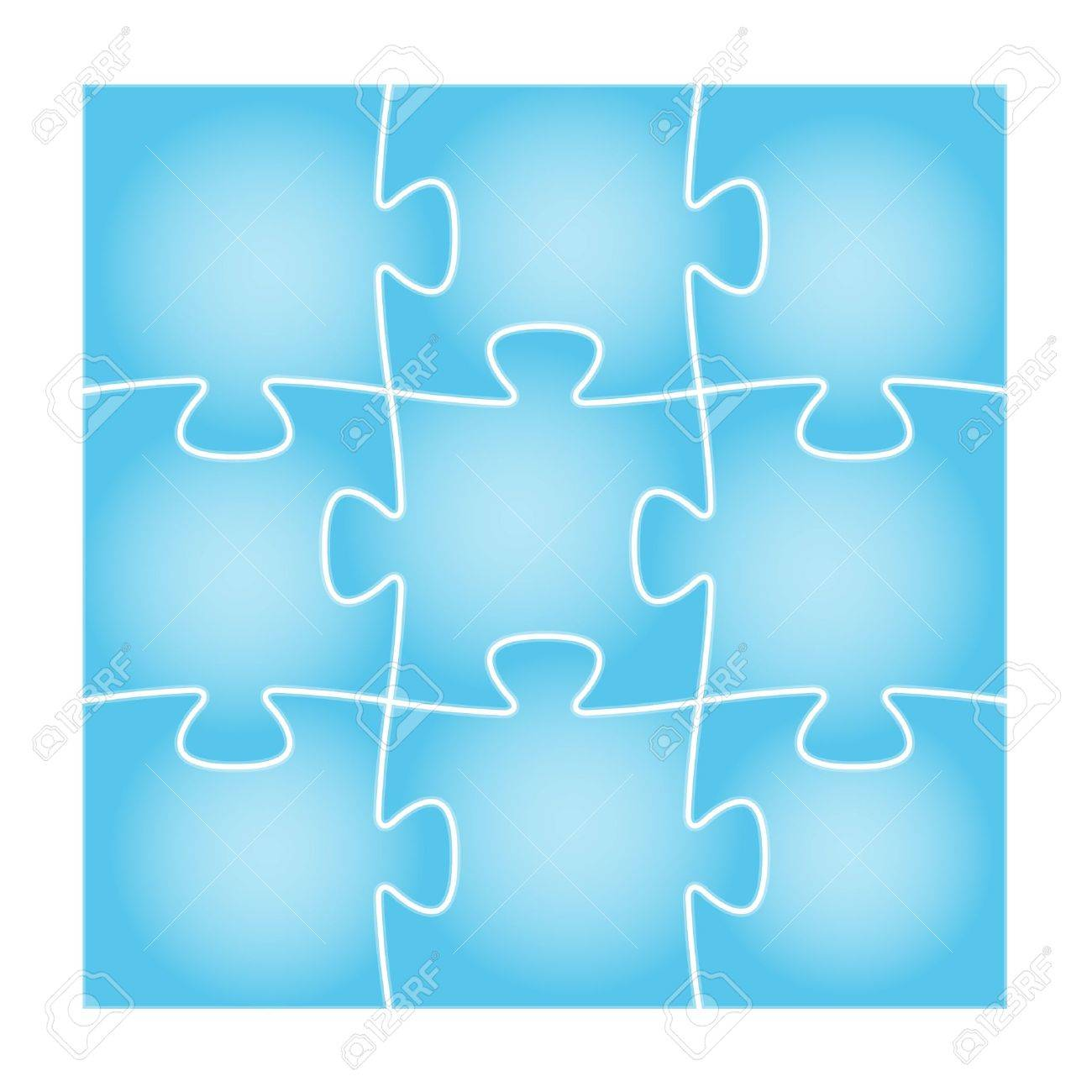 Set of nine blue puzzle pieces in the square composition   puzzle background Stock Vector - 19140963