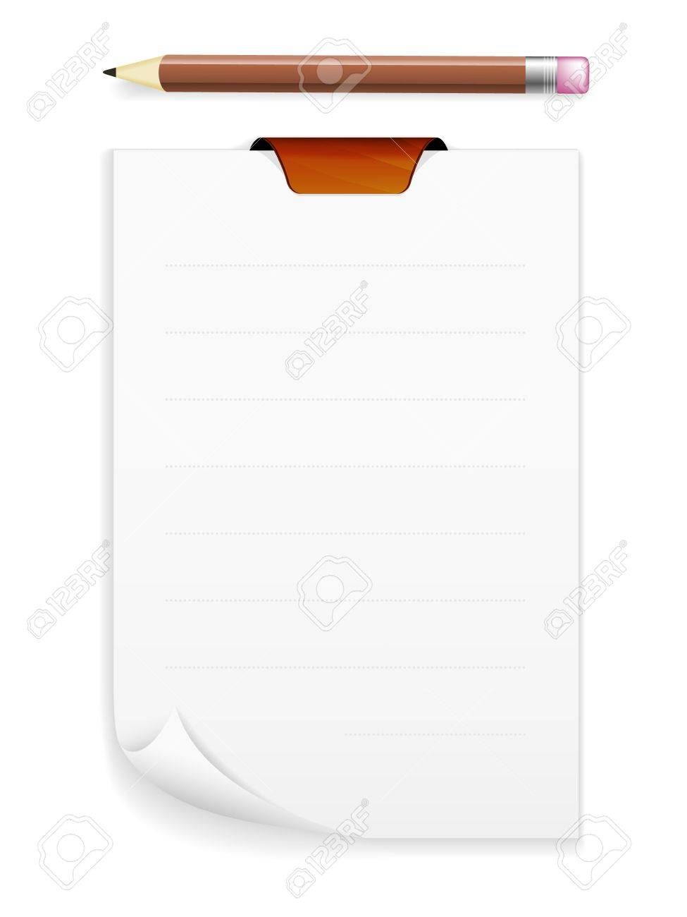 The note board with blank piece of paper and pencil   The noteboard with a pencil Stock Vector - 20197923