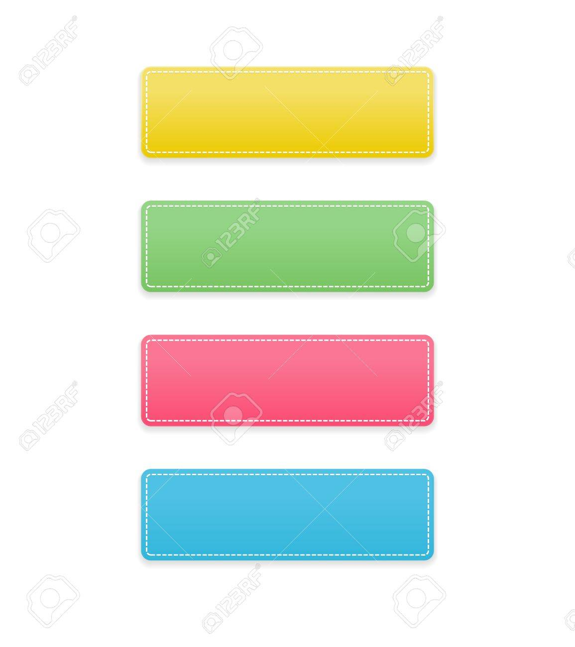 The set of yellow, green, pink and blue rectangle buttons with a stitched effect Stock Vector - 21048506