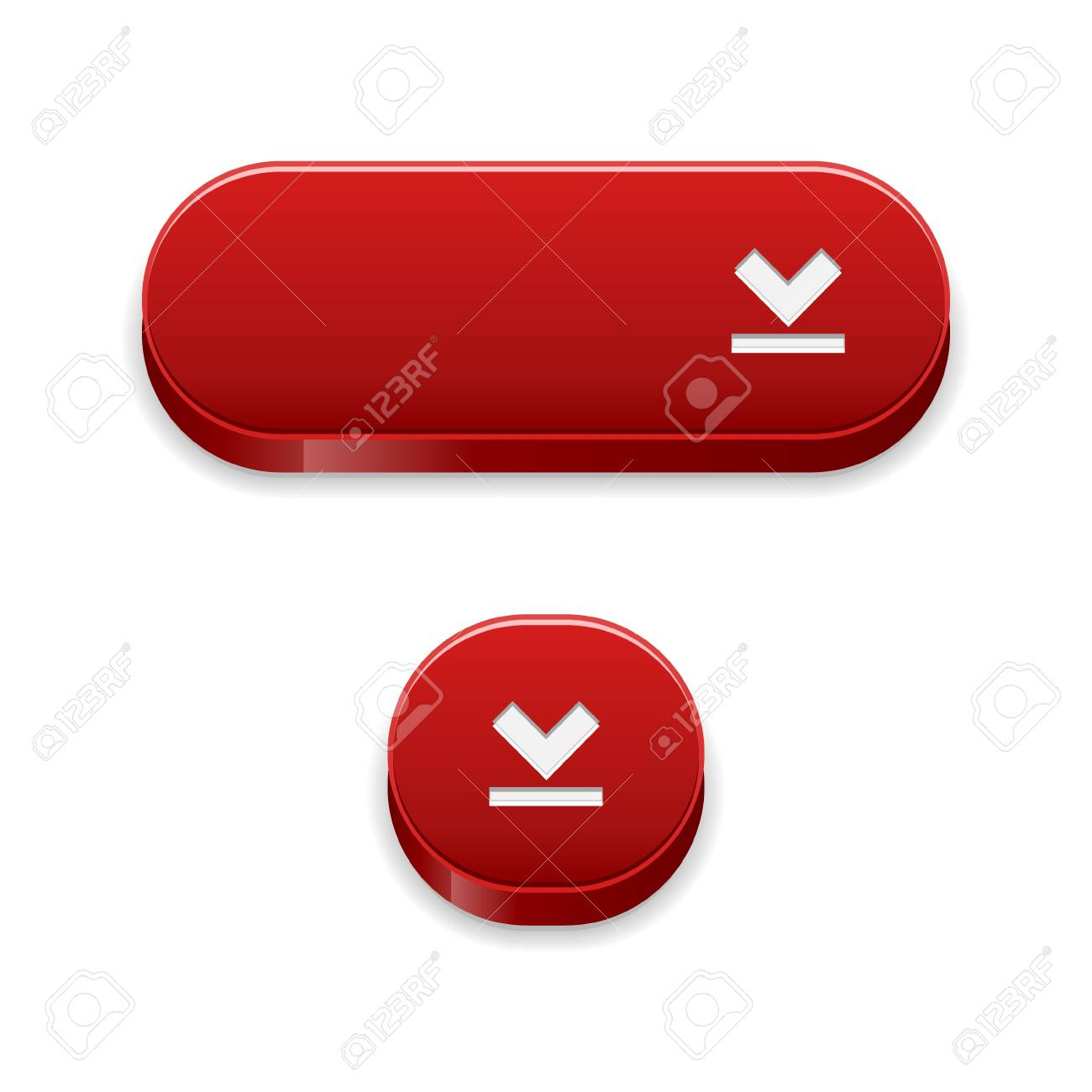 The set of two blank red buttons with download symbol Stock Vector - 21944476