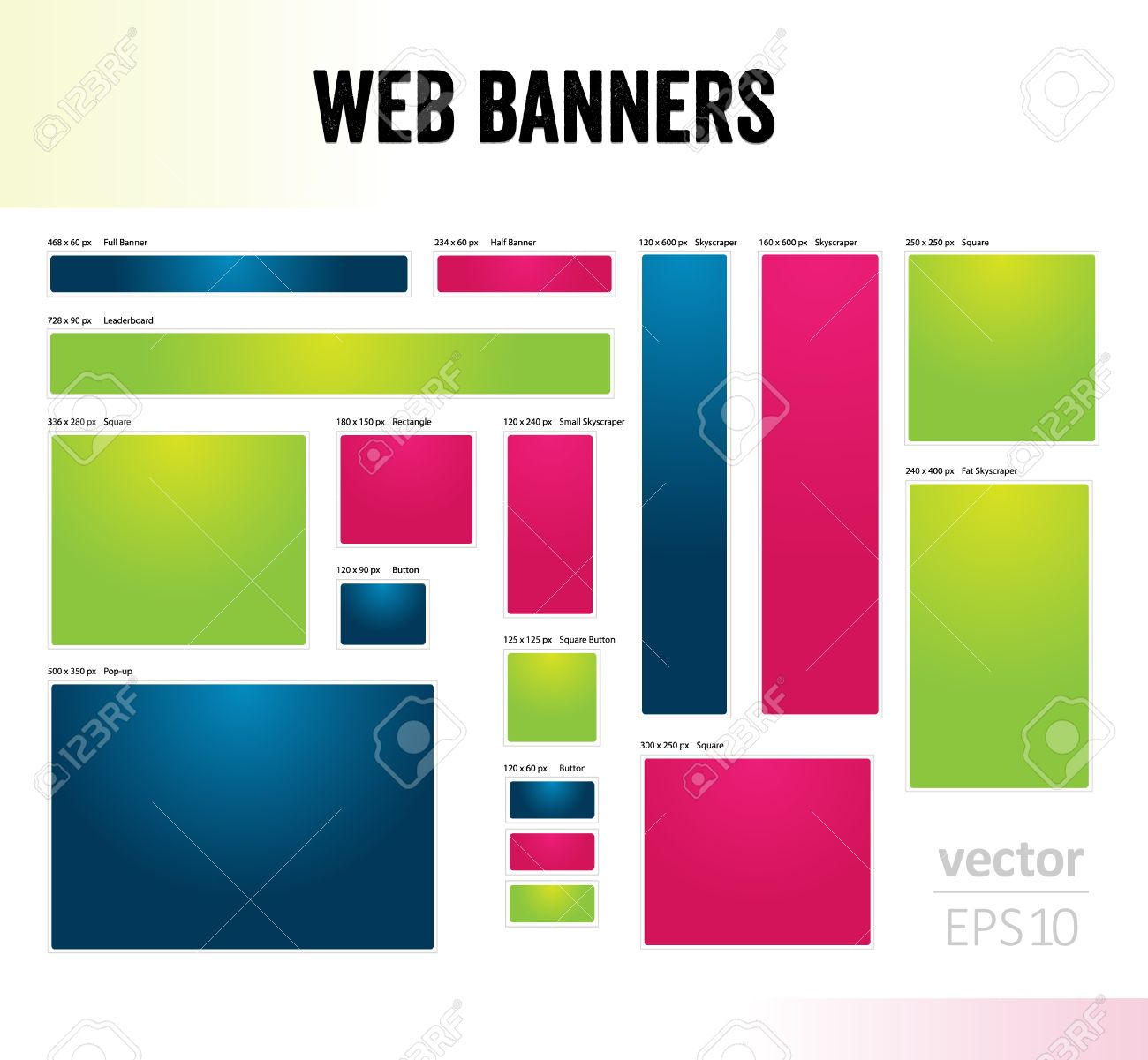 The Set Of Blank Common Size Web Banner Templates Royalty Free ...