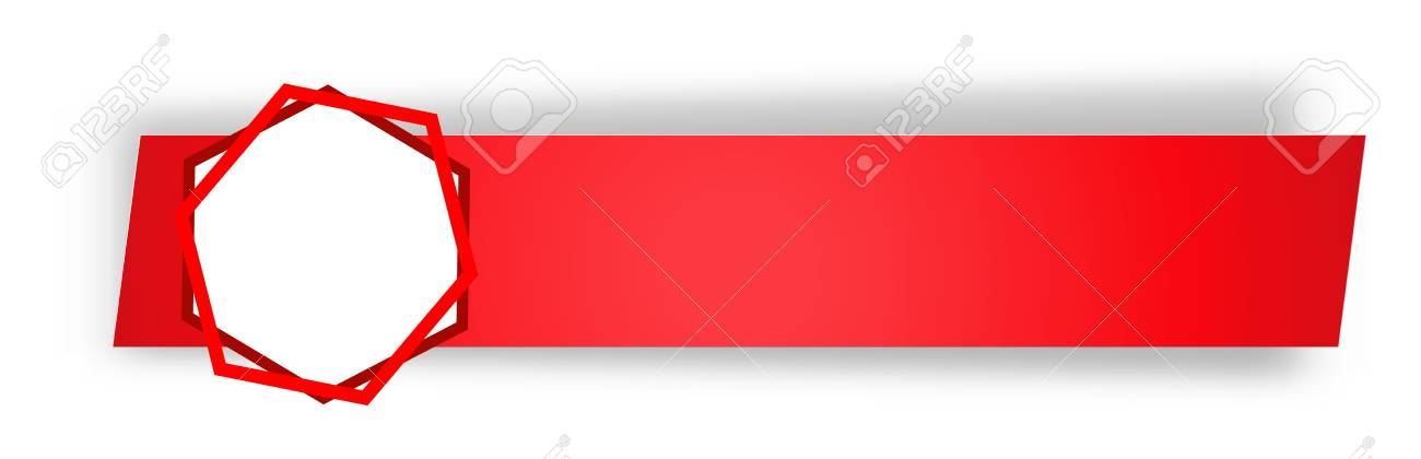 the blank red web banner with hexagon shape tag royalty free