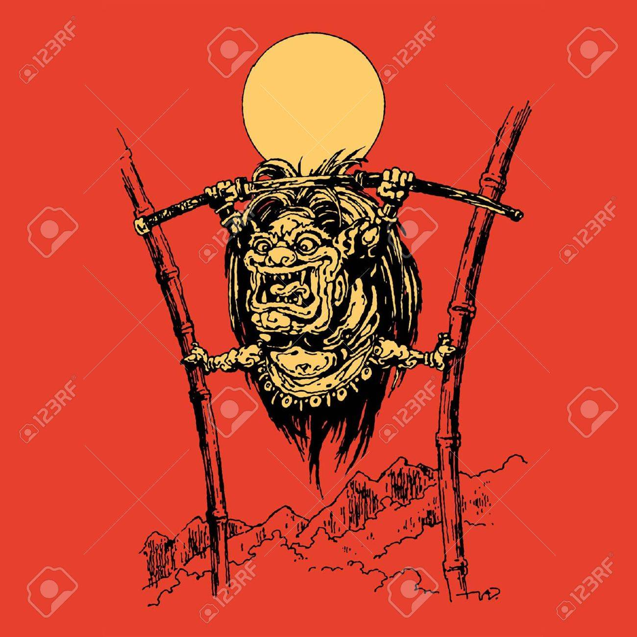 JAPANESE DEMON TENGU, RESTS HIS FEET IN THE BAMBOO TRUNKS, SCREAMS AND PULLS OUT OF THE SCABBARD OF A SWORD Stock Vector - 27564171
