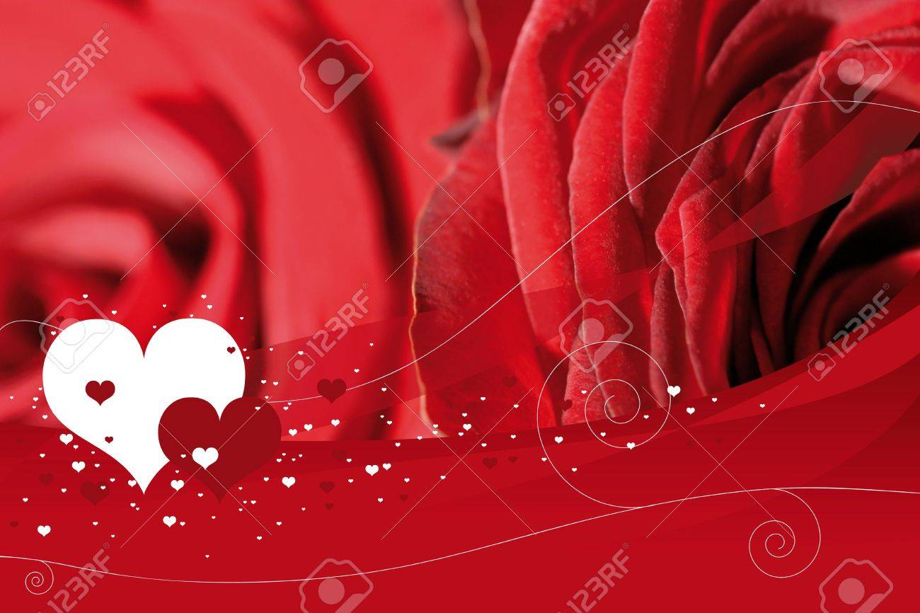 a red background with roses and hearts stock photo 807527
