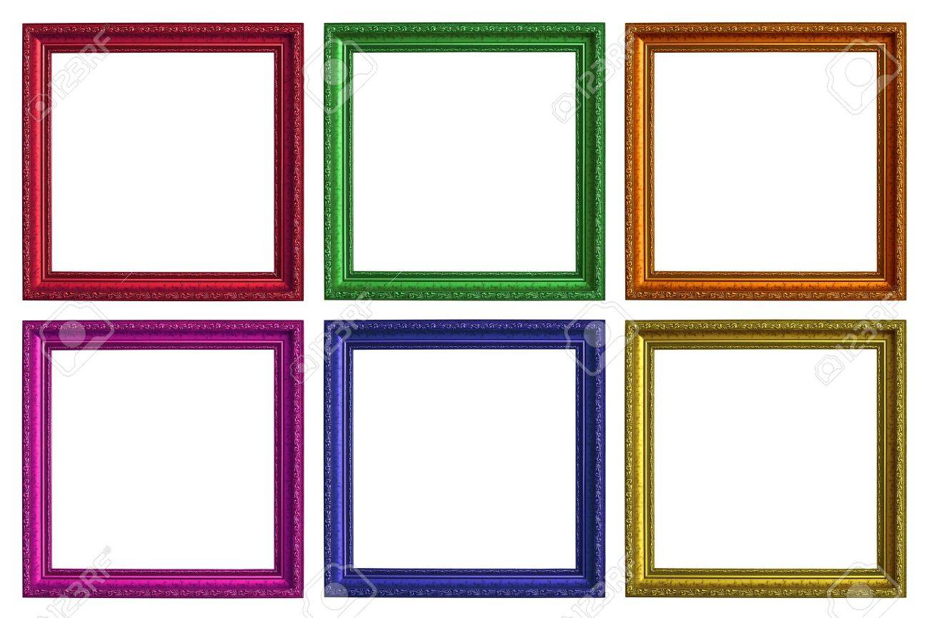 Six Empty Picture Frames And A White Background Stock Photo, Picture ...