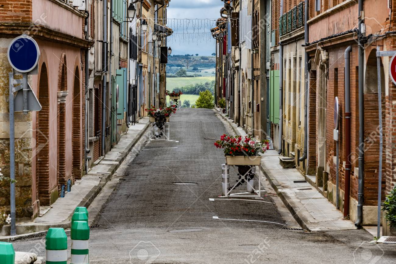 Typical street of the old country village Saint Yvars with the