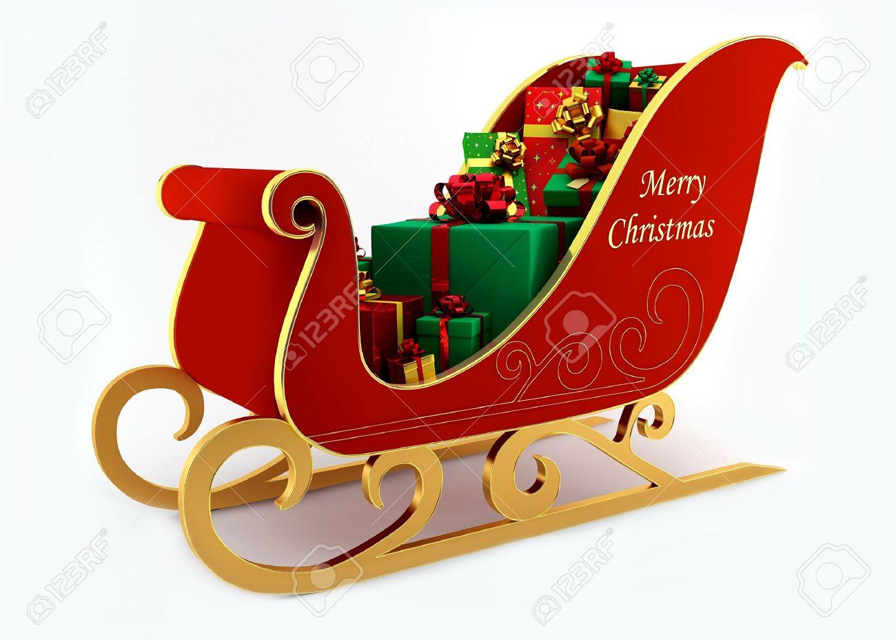 Weihnachtsschlitten Mit Geschenken Auf Weißem Hintergrund ...