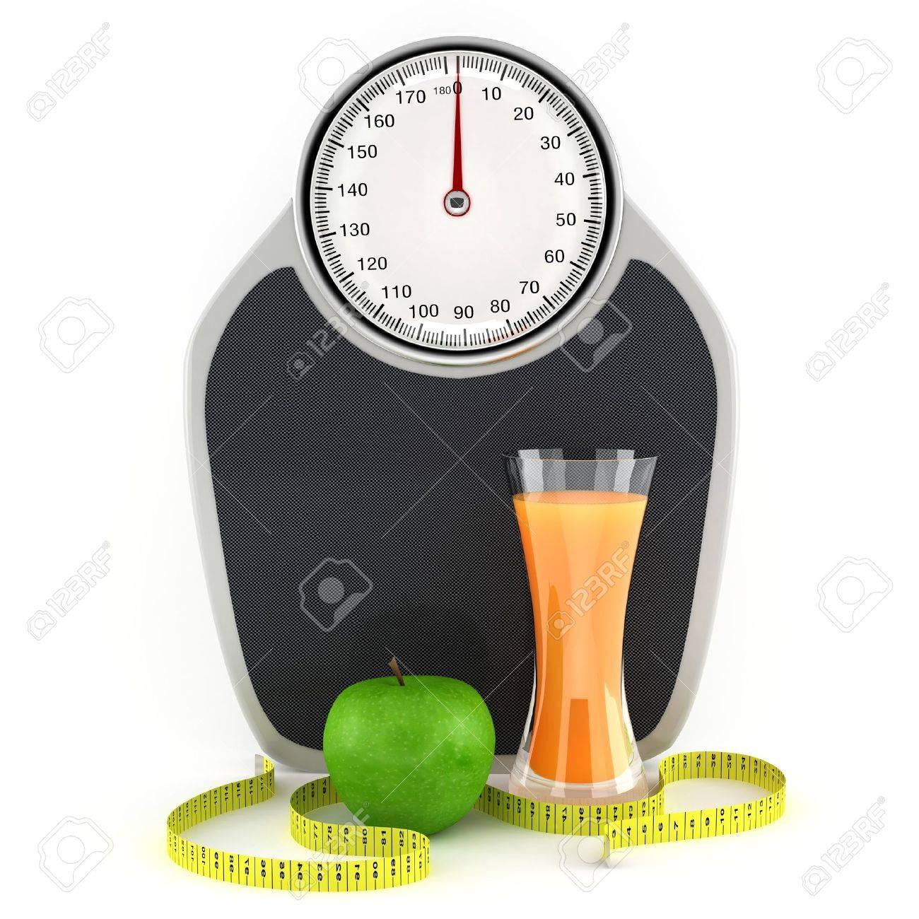 Scales, juice, apple and measuring tape - a symbol of a healthy lifestyle Stock Photo - 10967620