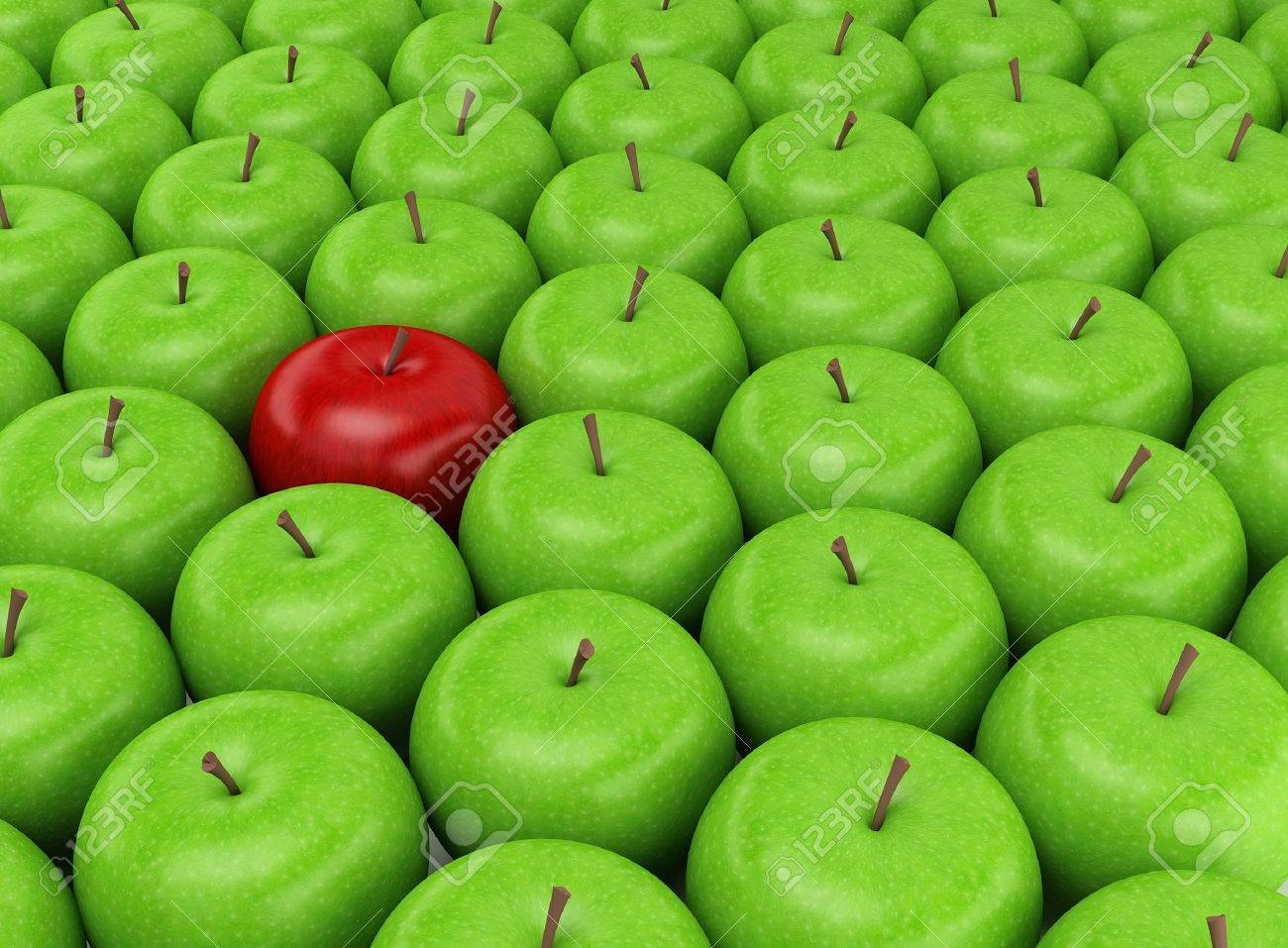 green and red apples. one red apple selected on the background of green apples stock photo - 10967619 and