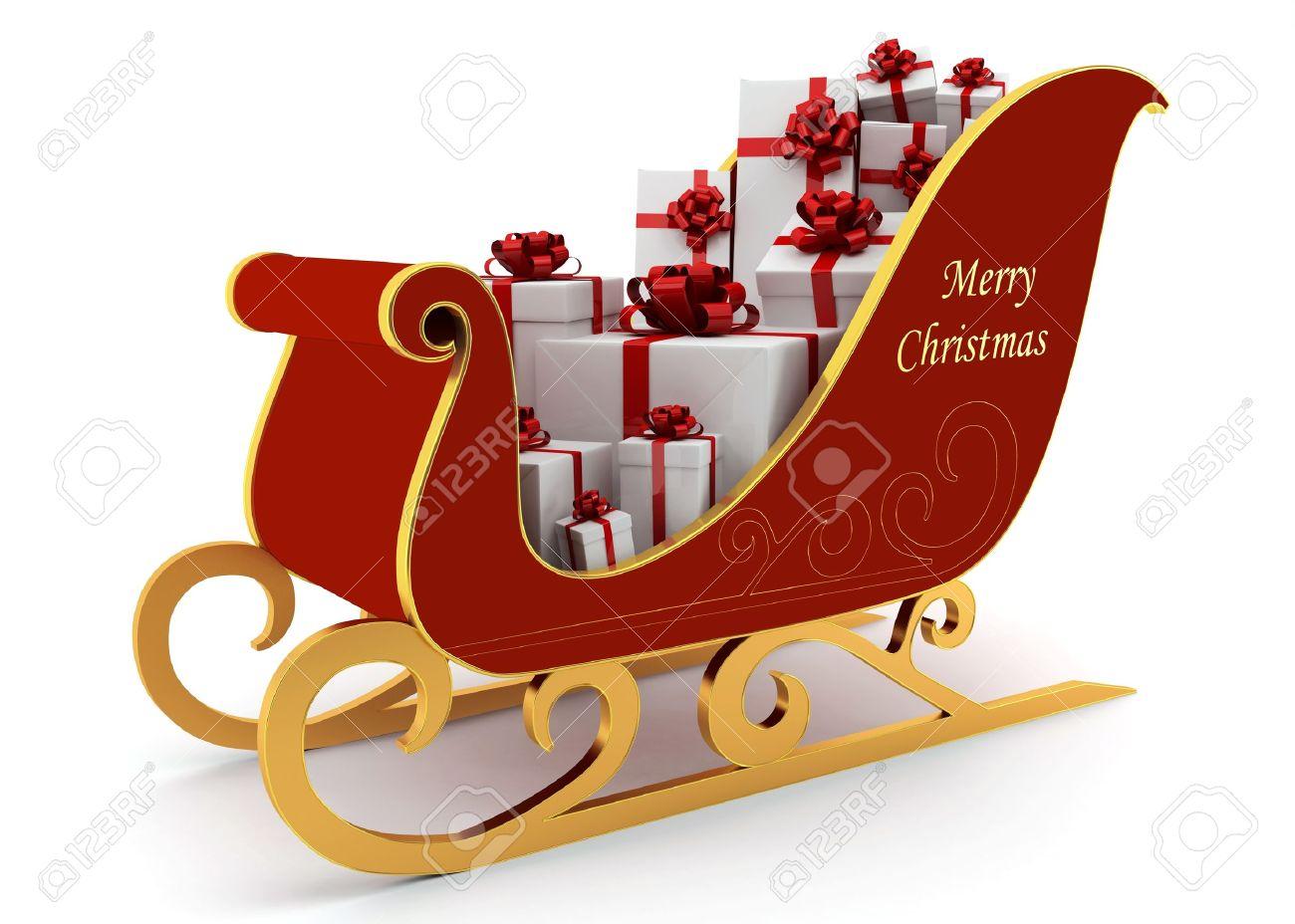 Weihnachten Schlitten Mit Geschenken Auf Weißem Hintergrund ...