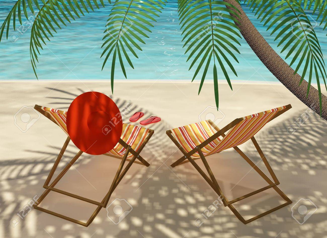 colourful deck chairs on the beach under a palm tree stock photo