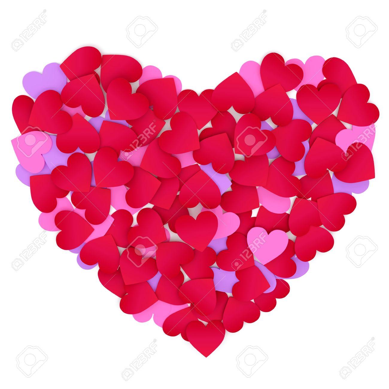 Herz Aus Papier Herzen Farbe Auf Weißem Hintergrund Lizenzfreie