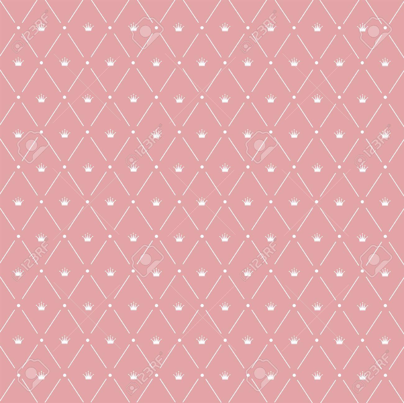 Seamless Pattern Crown Symmetrically Arranged Between Diagonal