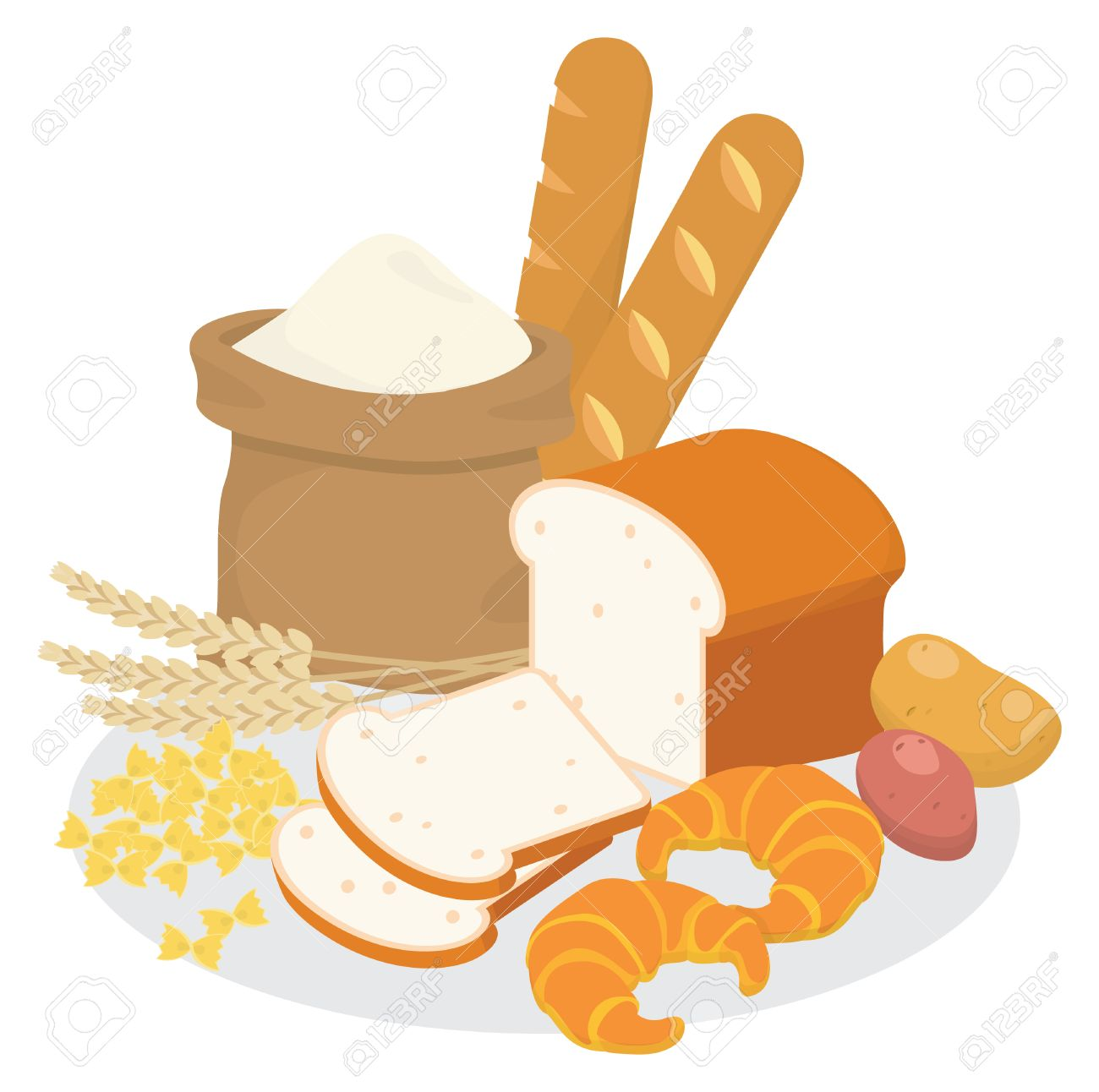 Carbohydrates Food Sources, Top View On A Table Stock Image - Image of  oatmeal, potatoes: 119623709